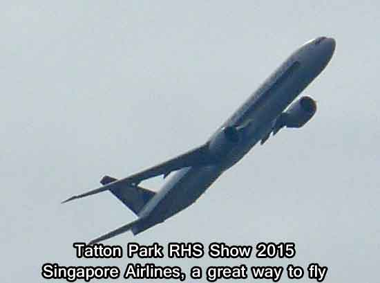 Singapore Airlines flying over Tatton Park RHS Show 2015