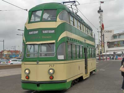 Blackpool Heritage Tram Balloon 717 on the day of Blackpool Totally Transport 2013