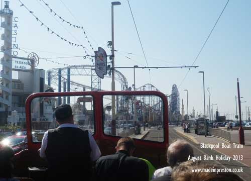 Riding the Blackpool Boat Tram on a sunny day 2013.