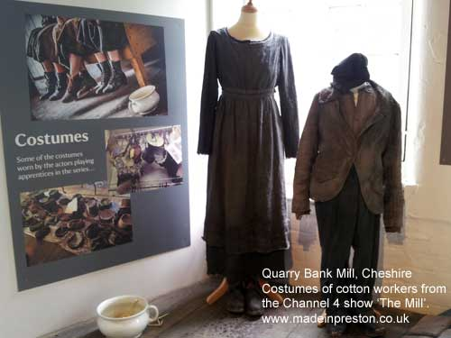 Cotton workers clothes, display at Quarry Bank Mill for the 'the Mill' Channel 4