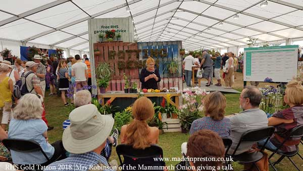 Mrs Robinson of the Mammoth Onion at Scorton gives a talk at Tatton RHS 2018