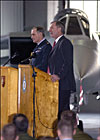 Geoff Hoon and Sir Jock Stirrup at the signing ceremony at RAF?Coningsby
