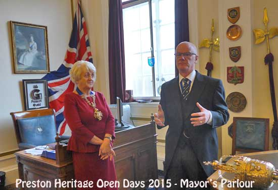 The Mayor of Preston, Margaret McManus, with the Sergeant, Bill in the Mayor's Parlour.