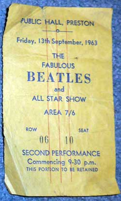 Beatles ticket from 1963