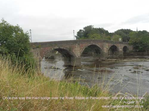 the old bridge over the River Ribble at Penwortham