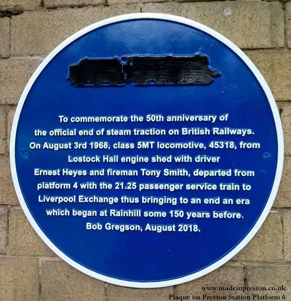 Last Steam Plaque at Preston Jan 19