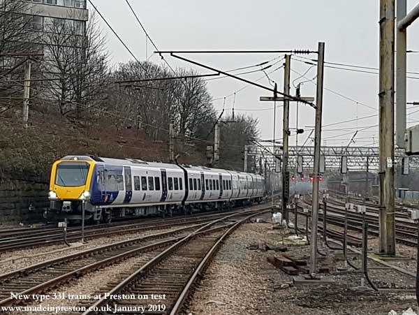 Preston Station approach Jan 19 Type 331 on test